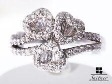 Ring 750 Weißgold 67 Brillanten zus. ca. 0,90 ct. Gr. 63 Herzen Verlobung