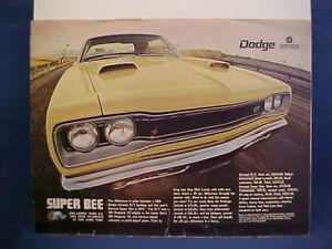 Details about 1969 Dodge Coronet SUPER BEE full-color vintage estate  ad--very nice 69 SuperBee