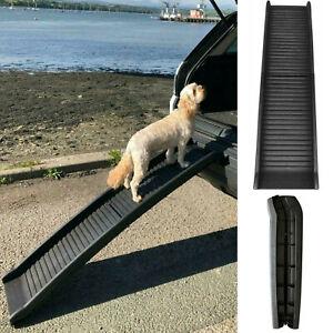 DOG PET RAMP PLASTIC FOLDING BI FOLD LIGHTWEIGHT STRONG TRAVEL CAR VAN PORTABLE