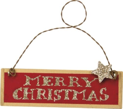 "Red /""Merry Christmas/"" Tin//Metal Ornament//Sign//Plaque~Primitive//Country//Vintage"
