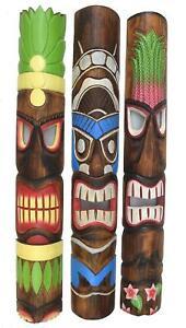 Tiki Maske aus Holz zum Aufh/ängen Hawaii Kauai Style Wohnraumdeko Wandmaske