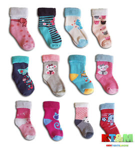 Baby Girl Toddler Terry Cotton Warm Winter Socks Size 1 Month To 3