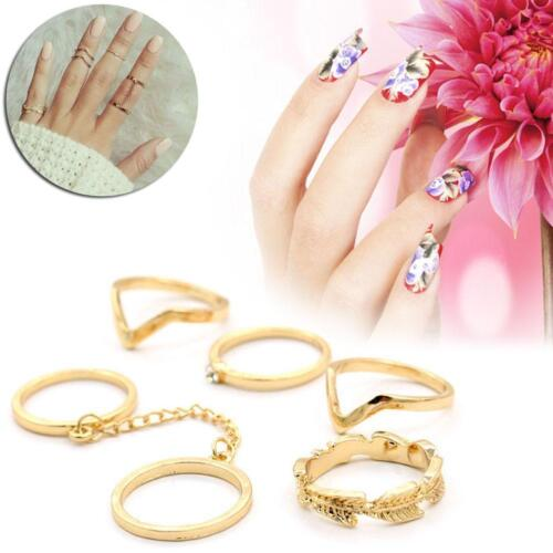 6pcs Set Gold Urban Rings Crystal Above Knuckle stacking Band Midi Mid Rings