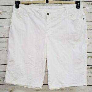 St-Johns-Bay-Womens-Bermuda-Shorts-Pockets-Stretch-22W-Denim-White-New