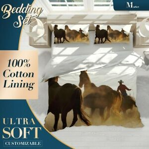 Horses-Cowboy-Animals-Brown-Quilt-Cover-Sets-with-2x-Matching-Pillow-Shams