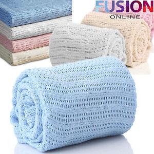 Baby-Cellular-Blanket-Soft-100-Cotton-Pram-Cot-Bed-Moses-Basket-Crib-70-X-100Cm