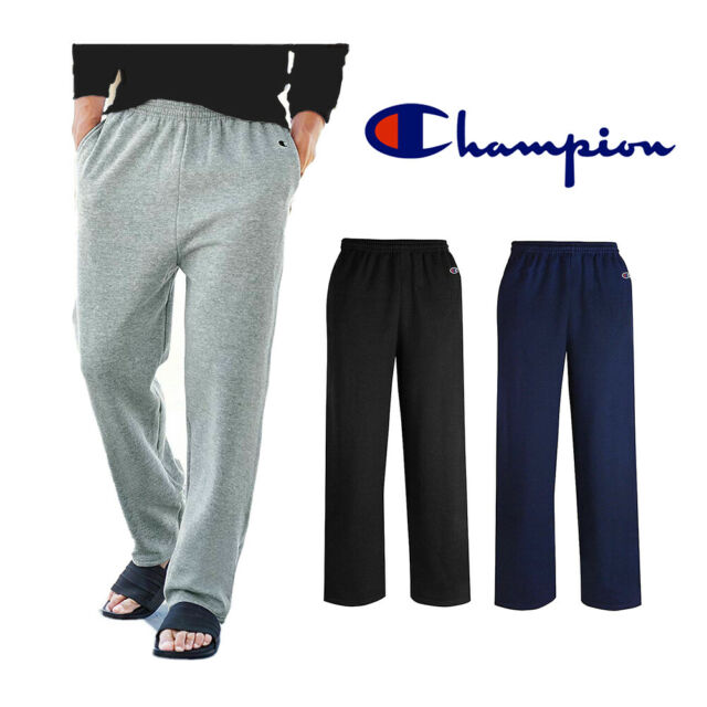 Champion Authentic Men/'s Open Bottom Jersey Pants with Pockets Light Weight