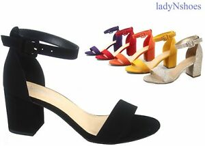 NEW-Women-039-s-Color-Ankle-Strap-Chunky-Low-Heel-Dress-Sandal-Shoes-Size-5-11