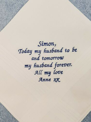 PERSONALISED MEN HANDKERCHIEF HANKIE FOR YOUR GROOM  HUSBAND TO BE WEDDING GIFT
