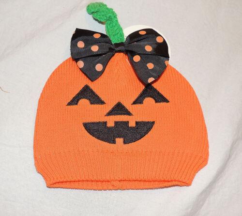 Sizes 0 to 12 M Halloween Jack O Lantern NEW Baby Girl Orange Knit Pumpkin Hat
