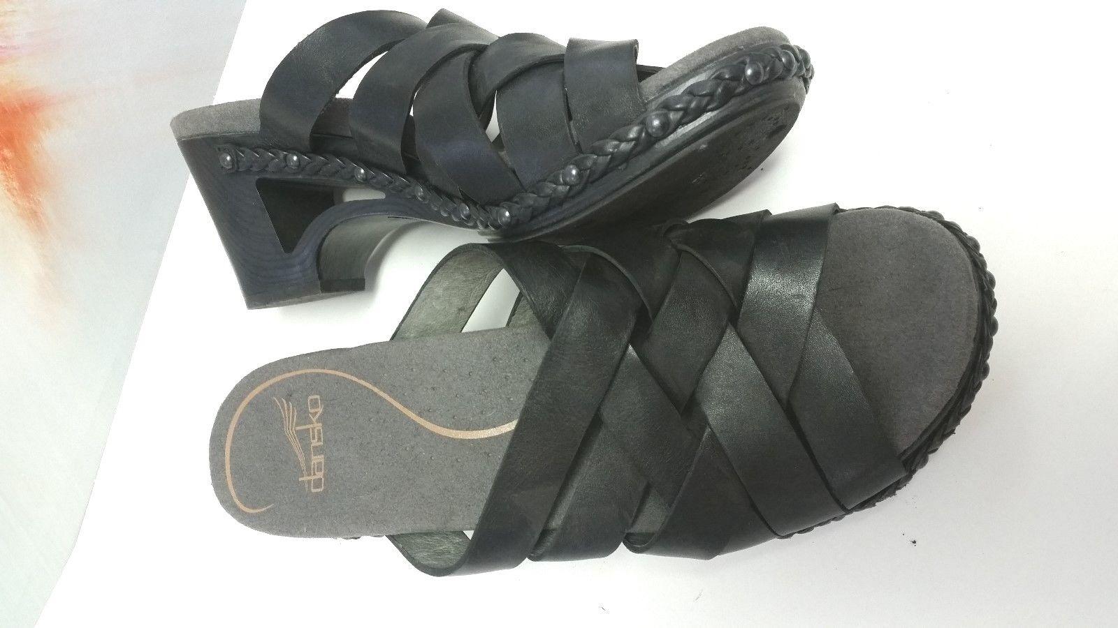 Dansko Size EUR 39 US 8 8.5 Black Leather Sandals Excellent Womens shoes