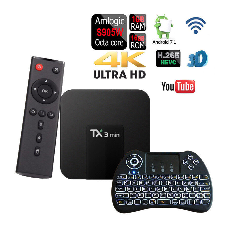 Quad-Core TX3 Mini 16GB Android 7.1 Wifi Smart TV Box+Backlit Wireless Keyboard