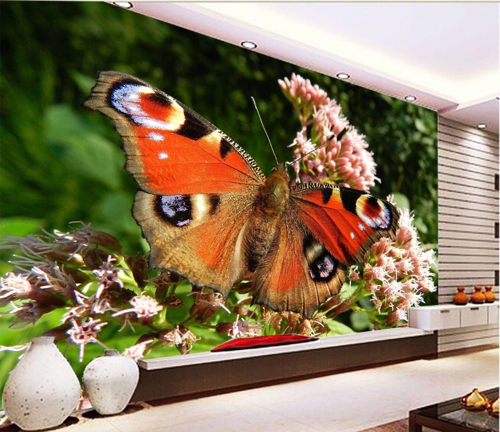 3D rot Butterfly 7153 Wallpaper Mural Wall Print Wall Wallpaper Murals US Lemon
