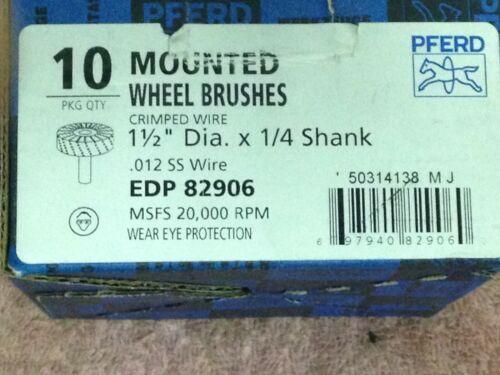 "Ea 2 PFERD 82906 1-1//2/"" Crimped Wire Wheel Brush .012 SS Wire 1//4/"" Shank Two"
