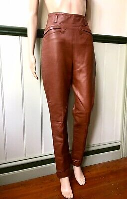 90s Black Leather Pants  Flared Stitching Detail Size 6 Vintage