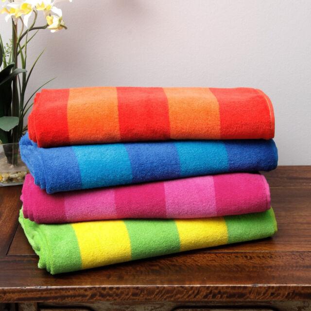 Striped Beach Towel Set Of 4 Cotton