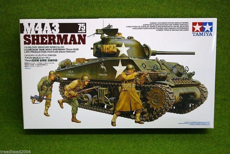 Tamiya M4A3 SHERMAN 75mm GUN Medium Tank 1 35 Scale Kit 35250
