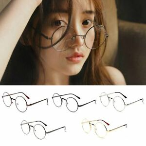 e177b683a Women Men Retro Large Oversized Metal Frame Clear Lens Round Circle ...