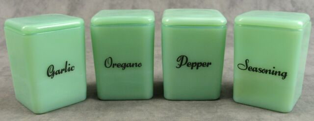JADEITE GREEN GLASS 4 PC SPICE PINCH JAR CANISTER SET w/ LIDS Pepr/Gar/Oreg/Seas