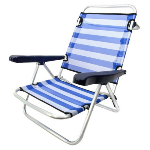 Low Folding Chair with Armrests Camping Beach Chair 61 x 47 x 80 cm 4 Positions