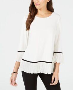 $160 Alfani Women's White Scoop Neck 3/4 Sleeve Knit Pleated Hem Blouse Size L