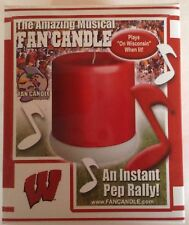 """Musical Sports Fan Souvenir Candle """"On Wisconsin""""  Badgers Fight  Song"""