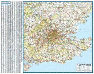 A Z Map Of England.Details About South East England 50 Miles Around London Road Map By A Z Wall Map Paper