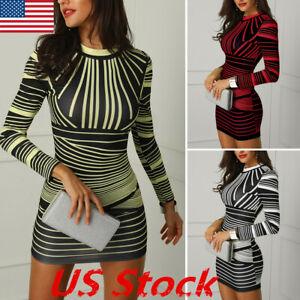 Fashion-Womens-Long-Sleeve-Print-Bodycon-Clubwear-Cocktail-Party-Sexy-Mini-Dress