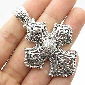 e126634c9 Image is loading 925-Sterling-Silver-Real-Diamond-Large-Cross-Pendant