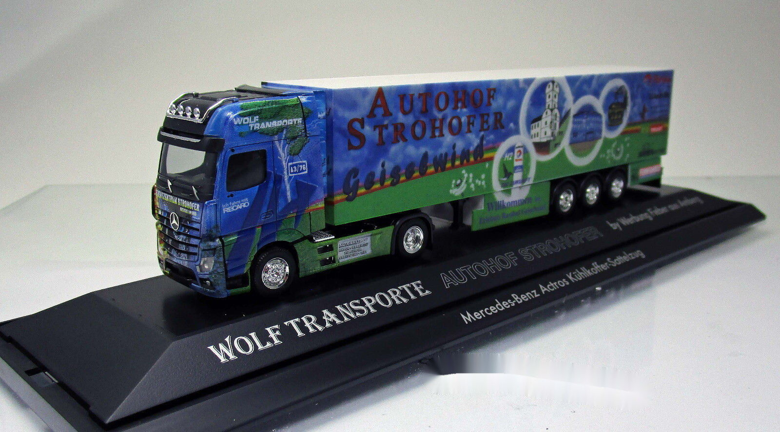 Herpa 121651 Mercedes Benz Actros Kühlkoffer semi-remorque camion Autohof Geiselwind NEUF