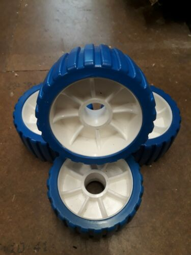 Jetski//Boat Trailer Ribbed wobble rollers Blue /& white set of 4