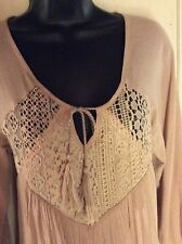 Purple Snow ❄️ Gauze w Crochet Lace Boho Gypsy Tunic Dress Size M
