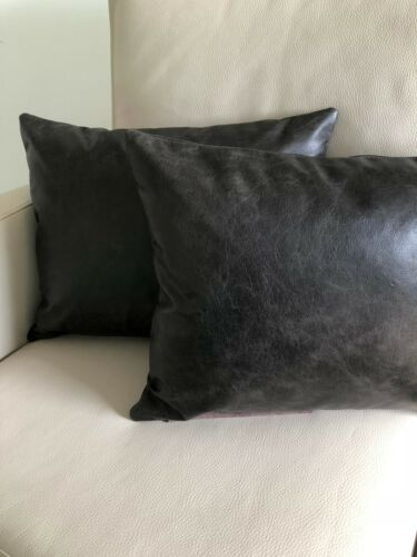 2x Sofa Cushion 50x40 cm Leather Cushion Antique Black Real Leather Vintage Look Distressed