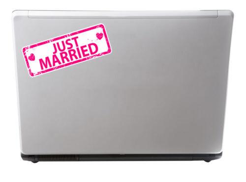 2 X 15 Cm recién casados Rosa pegatina de vinilo Ipad Laptop Coche Equipaje De Viaje # 4913