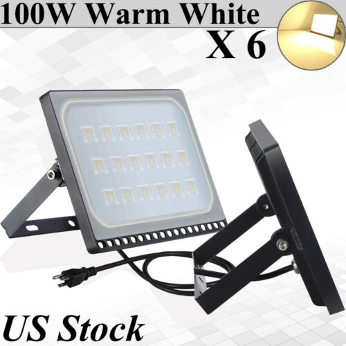 US Plug 6X Viugreum 100W Ultra-thin LED Flood Light Warm White Outdoor Fixture