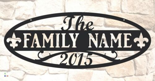 "Family Name Sign Oval Shape Personalized Custom Steel 31/"" wide x 11-1//2/"" tall"
