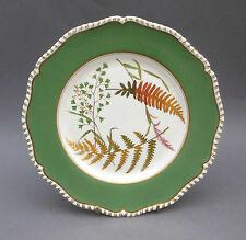 Vintage Royal Worcester PLATE ~ Gilded Fern Leaf ~ Green Border ~ Gadrooned Edge