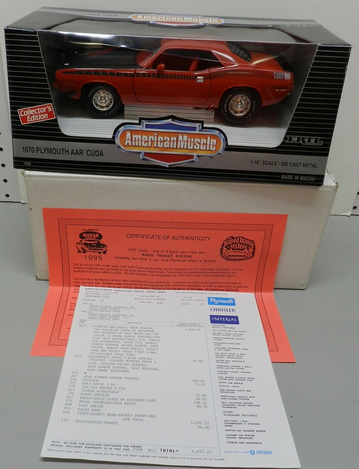 87 1995 rosso AAR  1970 PLYMOUTH CUDA 70 MOPAR NATIONALS NATS ERTL 1 18 DIECAST