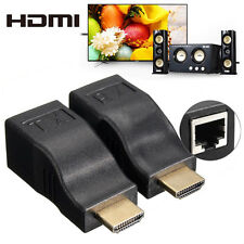 2Pcs 1080P 3D HDMI Extender to RJ45 Over Cat 5e/6 Network LAN Ethernet Adapter