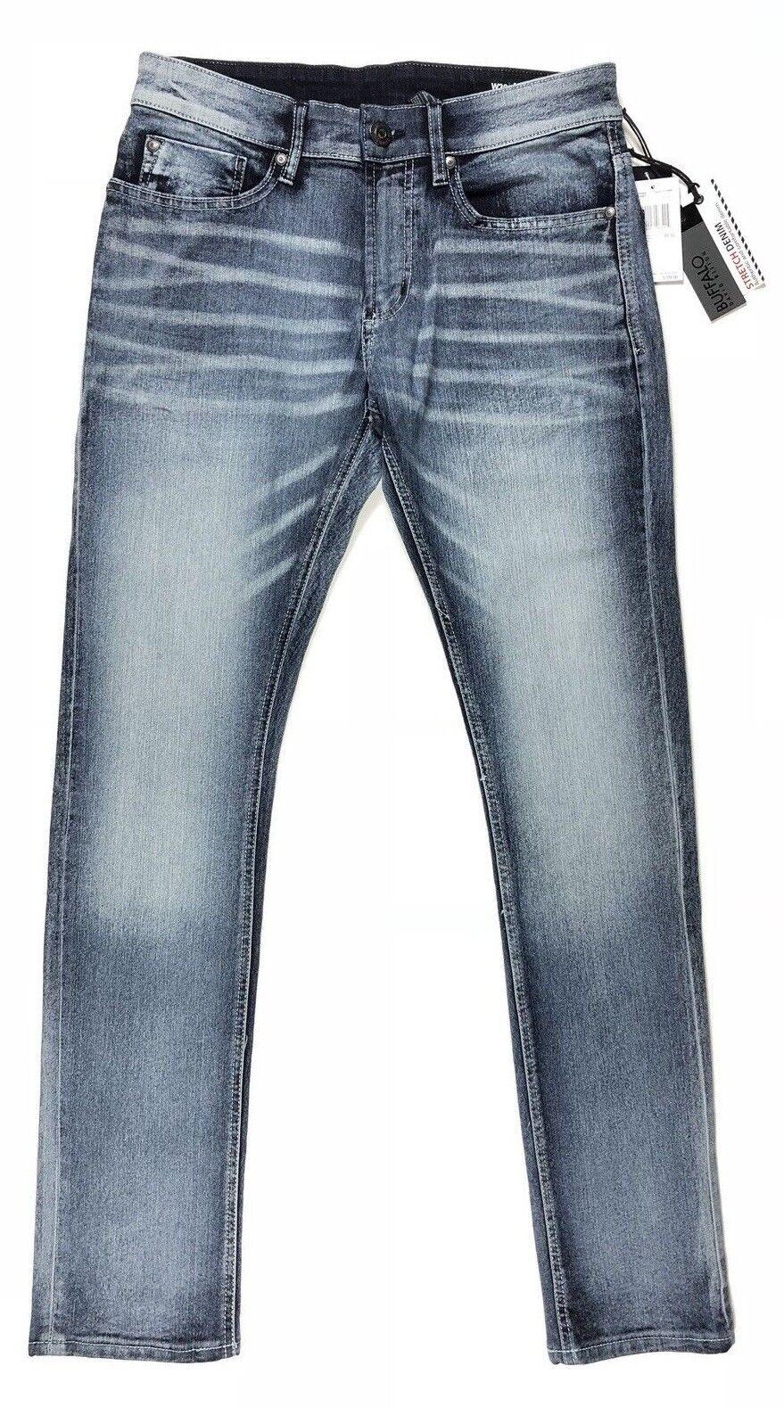 Buffalo David Bitton Jean Ash X Super Skinny Stretch Medium Wash Whiskered Size