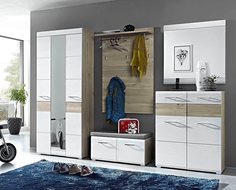 Garderobe Garderobenset Flurmöbel Diele Flur Silbereiche Eiche Weiß
