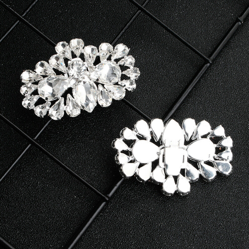 1 Pair Shoe Buckles Wedding Women Glass Crystal Buckle for Sandals Leather Shoes