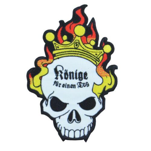 Bügel Aufnäher Spruch Könige für einen Tag deutschrock böse sprüche totenkopf