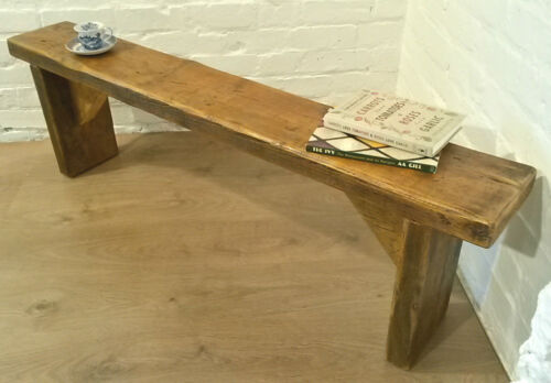 4ft CHUNKY Solid Rustic Vintage Reclaimed Pine Plank Dining Table Seating BENCH