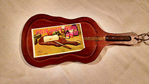 Details About Wood Violin Cello Bass Guitar Shaped Cheese Bread Board Vitnage W Knife