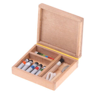 1-12-Dollhouse-Miniature-Artist-Paint-Pen-Wood-Box-Model-Toys-Dolls-Accessor-yi