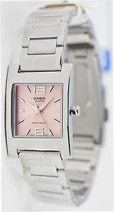 Casio-LTP-1283D-4A-Ladies-Pink-Square-Watch-Steel-Band-Dress-Quartz-New