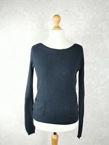 Fat Face Size UK 10 Navy Tweed Jumper Wool Cotton Blend Pockets Immaculate #H1