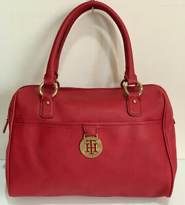 NEW-TOMMY-HILFIGER-RED-SAFFIANO-BOWLER-SATCHEL-TOTE-PURSE-BAG-HANDBAG-85-SALE