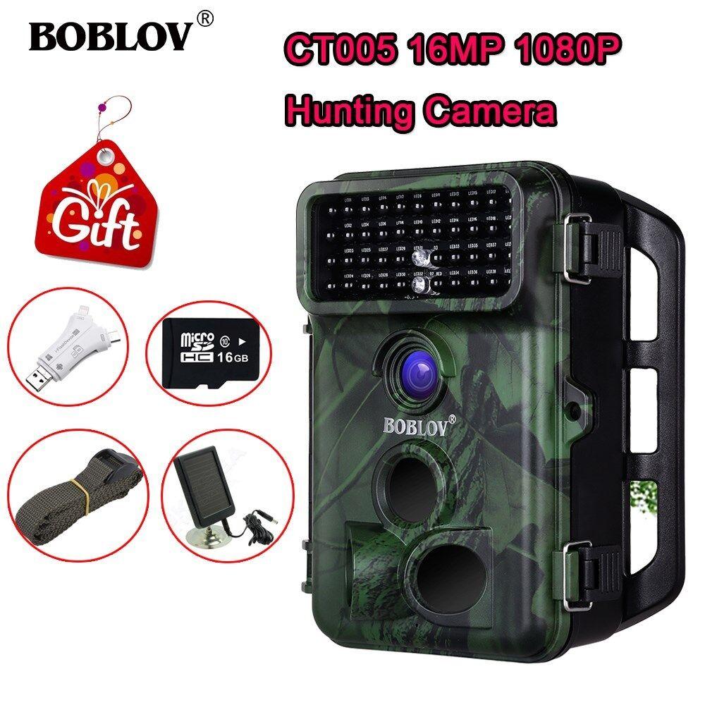 Boblov 1080P 16MP 16GB Trail Game Camera + Solar Panel + Card Reader + 2Pcs Belt